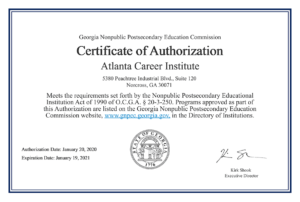 2020 Georgia Nonpublic Postsecondary Education Commission Certificate of Authorization